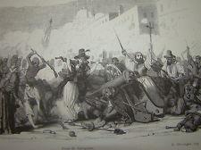 Gravure Prise de Saragosse Zaragoza Napoleon Espagne España 1830 Empire Aragon