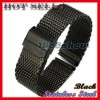 New Fashion 22 mm Black Mesh Watch Band Stainless Safe Lock Strap Fit Most Watch