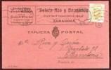 Alfonso XIII Tarjeta Comercial Circulada de Zaragoza A Barcelona