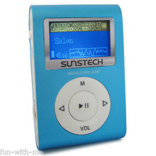 Reproductor MP3 Ultracompacto de 4 GB Sunstech Dedalo Blue Recargable Y Radio FM
