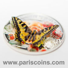 New Andorra 5 Diners 2013 Silver Proof Exotic Swallowtail Butterfly 3D
