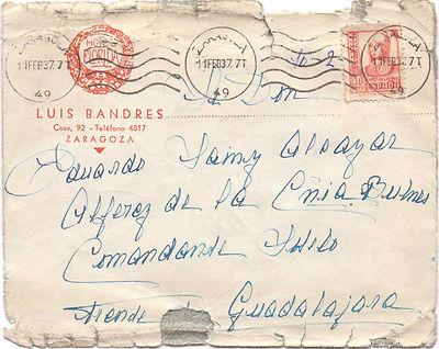 SOBRE CIRCULADO DE ZARAGOZA A FRENTE DE GUADALAJARA 1937 RODILLO