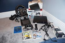 Sony PlayStation 3 Slim 120GB Move 2 Controllers Racing Wheel Games Remote 0711719802204