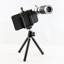 12x Zoom Manual Focus Lens HD Telephoto Lens Black Tripod Set for iPhone 4 4S